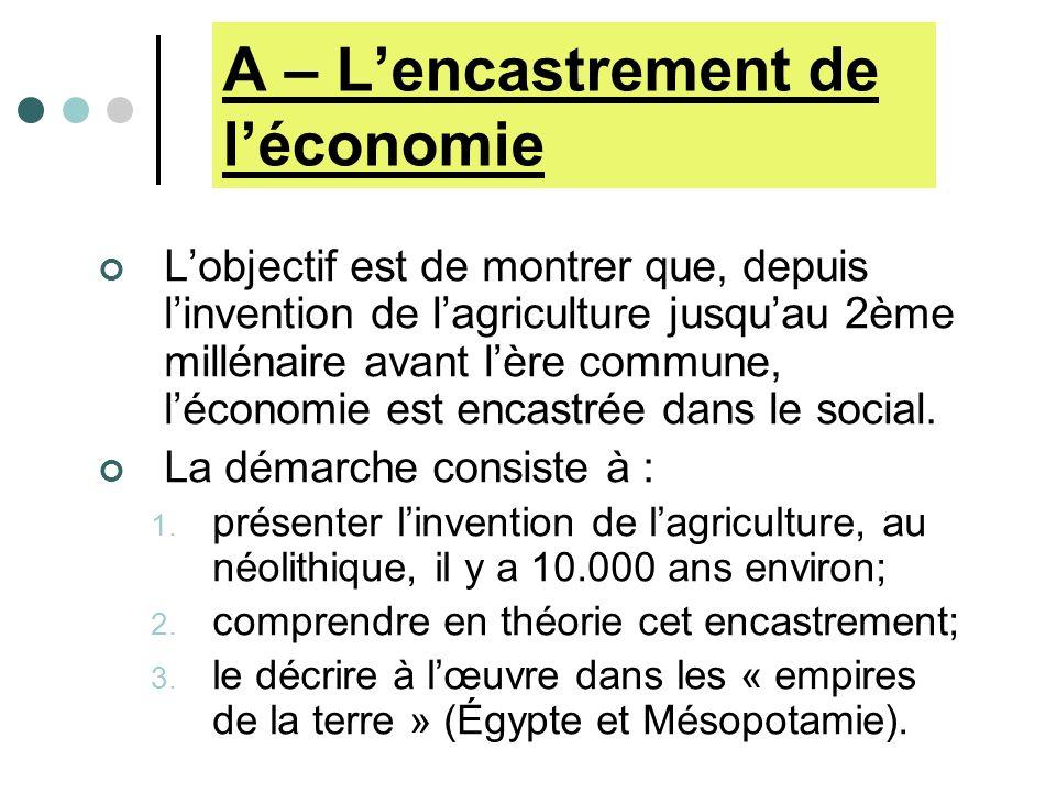 Licence 1 ------- Histoire économique Chapitre I – La place de léconomie dans la haute Antiquité