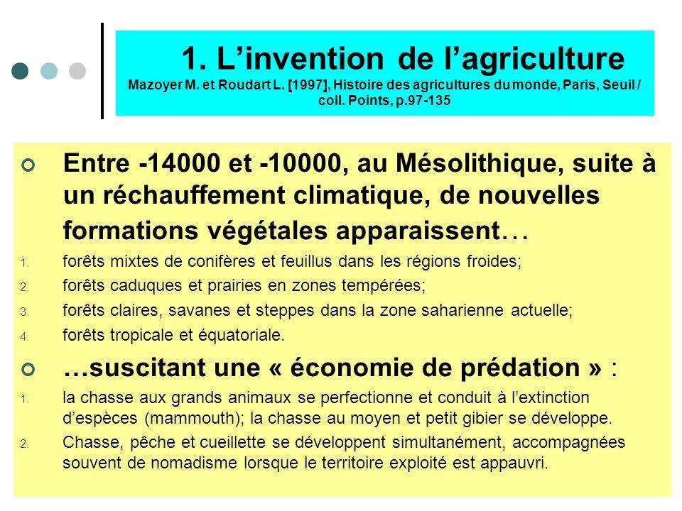 A – Lencastrement de léconomie Lobjectif est de montrer que, depuis linvention de lagriculture jusquau 2ème millénaire avant lère commune, léconomie e