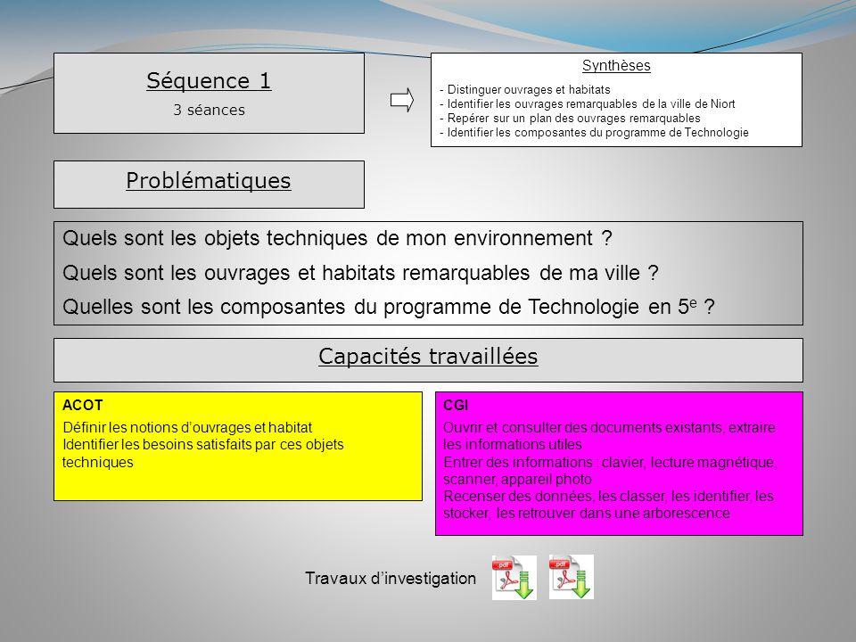 Séquence 1 3 séances Synthèses - Distinguer ouvrages et habitats - Identifier les ouvrages remarquables de la ville de Niort - Repérer sur un plan des