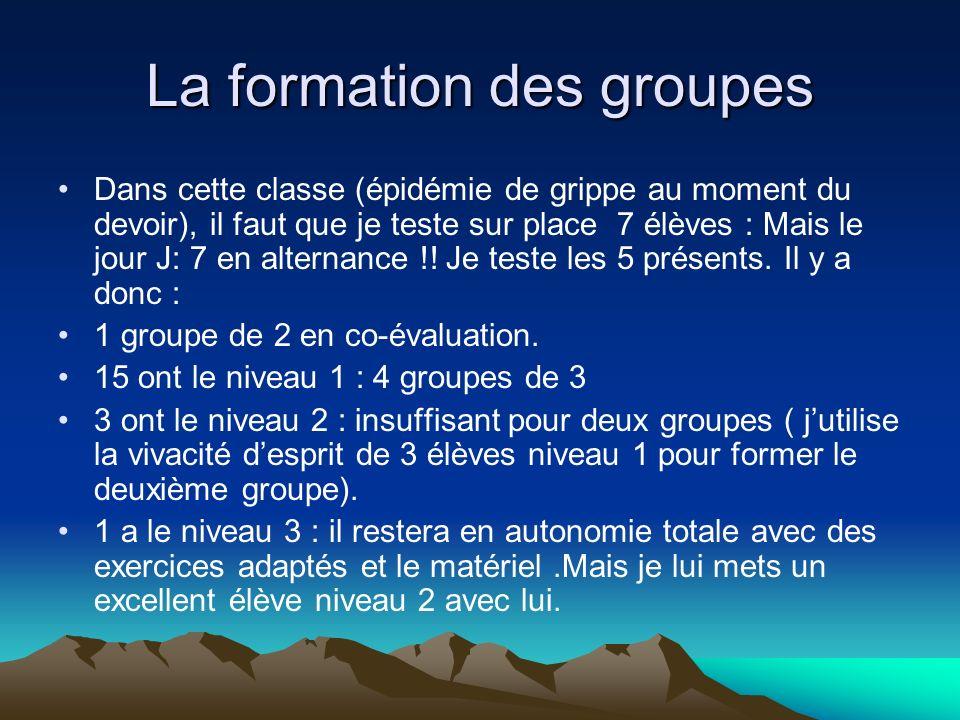 La formation des groupes Dans cette classe (épidémie de grippe au moment du devoir), il faut que je teste sur place 7 élèves : Mais le jour J: 7 en alternance !.