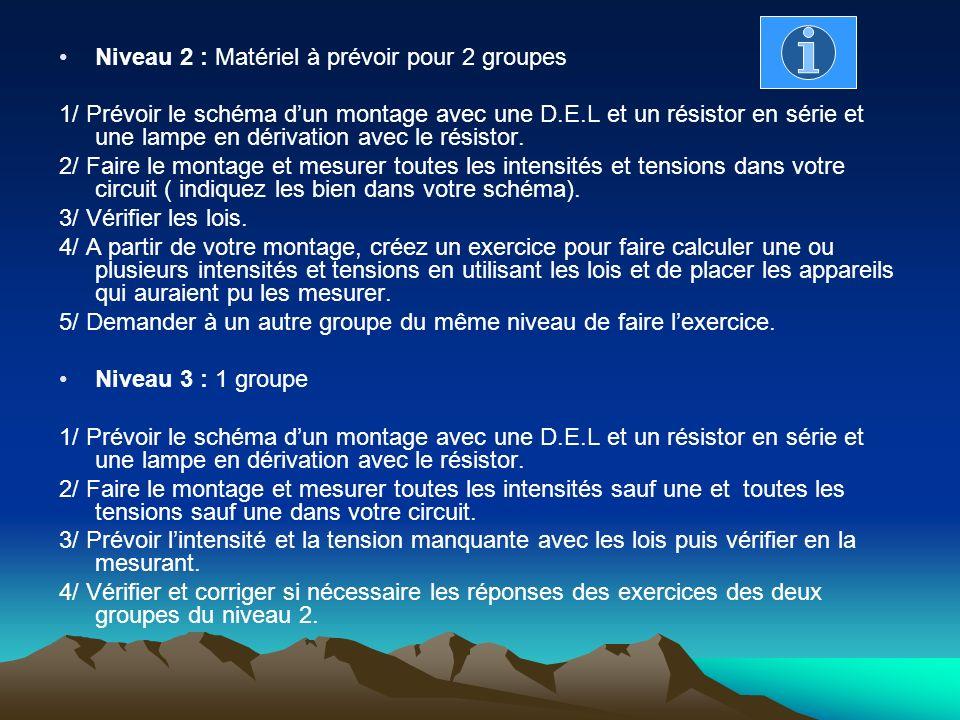 Niveau 2 : Matériel à prévoir pour 2 groupes 1/ Prévoir le schéma dun montage avec une D.E.L et un résistor en série et une lampe en dérivation avec l