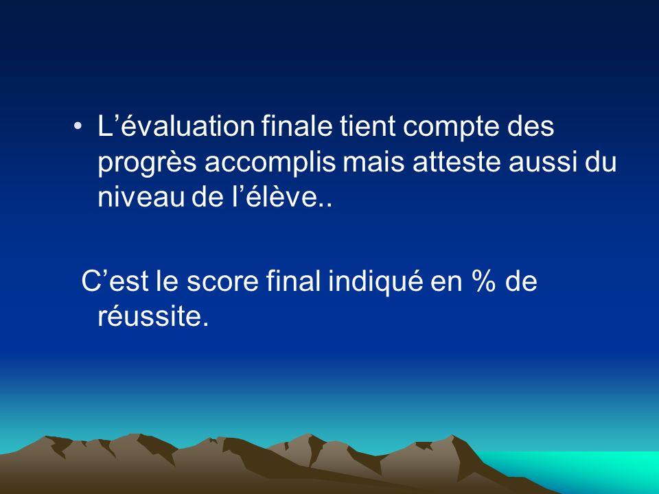 Lévaluation finale tient compte des progrès accomplis mais atteste aussi du niveau de lélève.. Cest le score final indiqué en % de réussite.