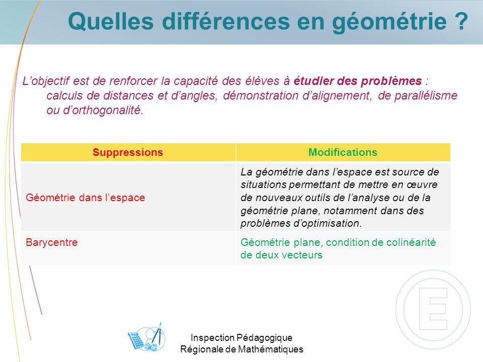 Inspection Pédagogique Régionale de Mathématiques Quelles différences en géométrie ? Lobjectif est de renforcer la capacité des élèves à étudier des p