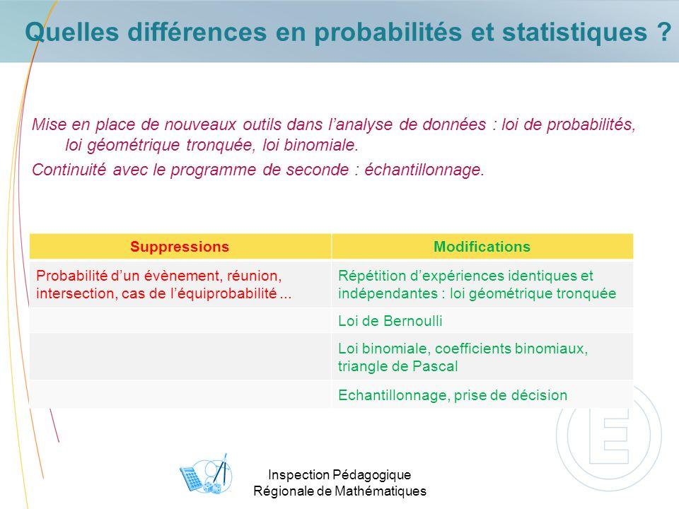 Inspection Pédagogique Régionale de Mathématiques Quelles différences en probabilités et statistiques ? Mise en place de nouveaux outils dans lanalyse