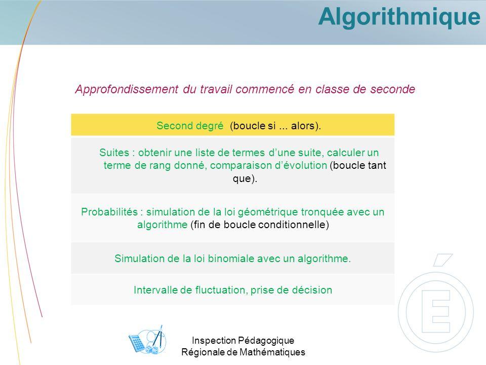 Inspection Pédagogique Régionale de Mathématiques Algorithmique Approfondissement du travail commencé en classe de seconde Second degré (boucle si...