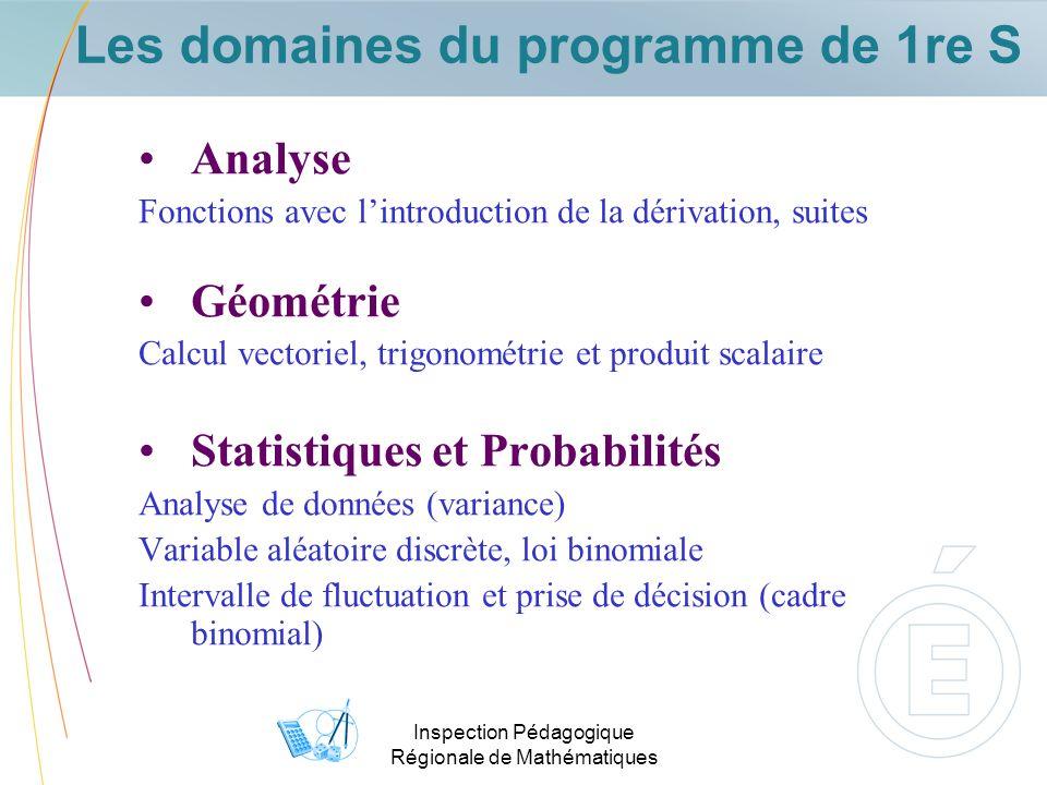 Inspection Pédagogique Régionale de Mathématiques Les domaines du programme de 1re S Analyse Fonctions avec lintroduction de la dérivation, suites Géo
