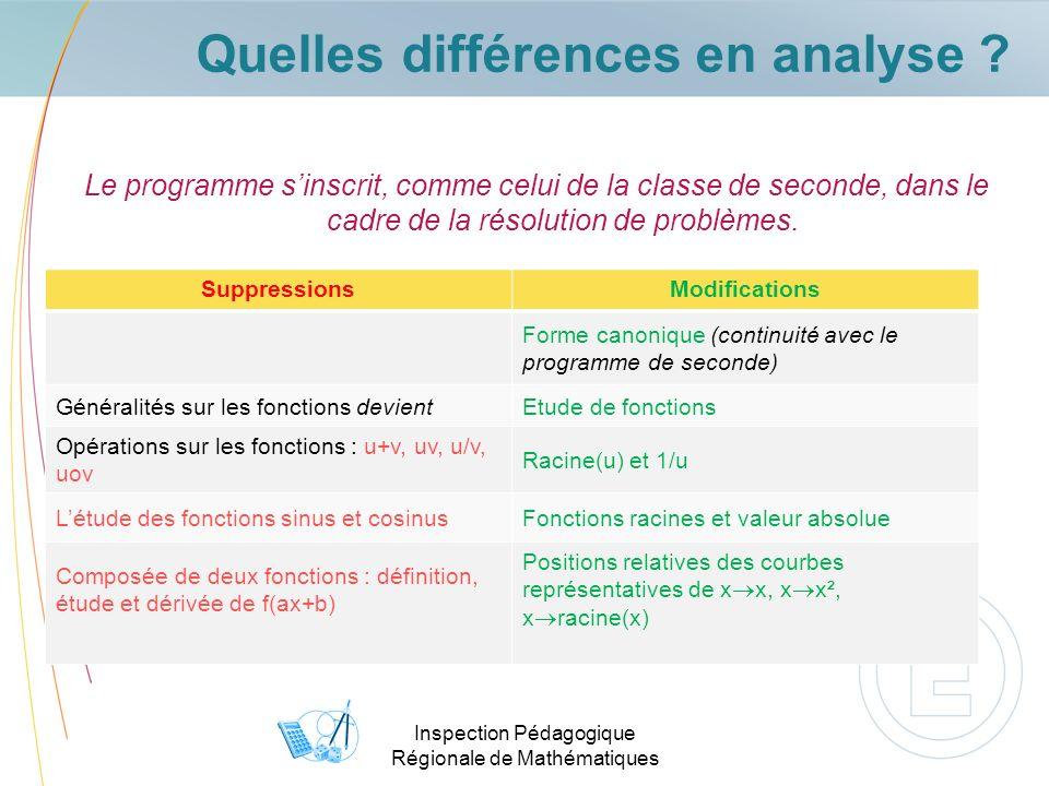 Inspection Pédagogique Régionale de Mathématiques Quelles différences en analyse ? Le programme sinscrit, comme celui de la classe de seconde, dans le