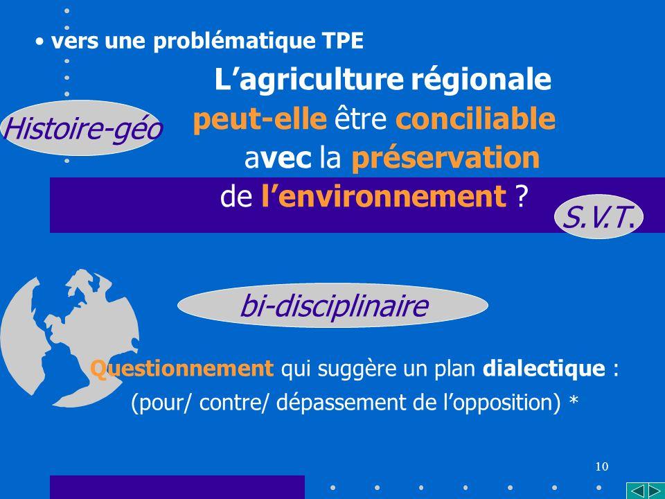 10 Lagriculture régionale peut-elle être conciliable avec la préservation de lenvironnement .