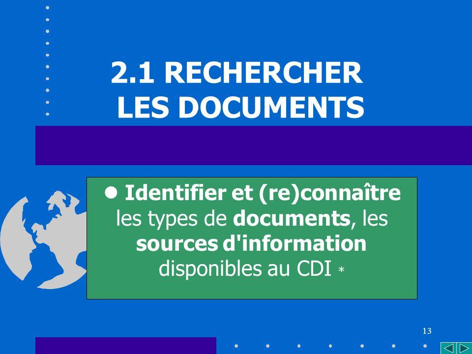 13 2.1 RECHERCHER LES DOCUMENTS Identifier et (re)connaître les types de documents, les sources d information disponibles au CDI *
