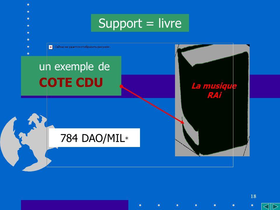 18 784 DAO/MIL * un exemple de COTE CDU Support = livre La musique RAi
