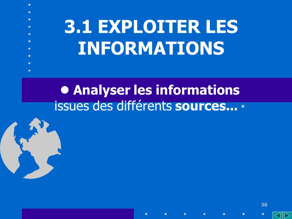 30 3.1 EXPLOITER LES INFORMATIONS Analyser les informations issues des différents sources... *