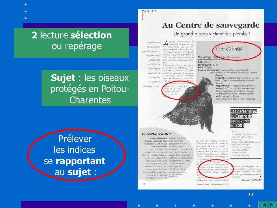 33 2 lecture sélection ou repérage Prélever les indices se rapportant au sujet : Sujet : les oiseaux protégés en Poitou- Charentes *