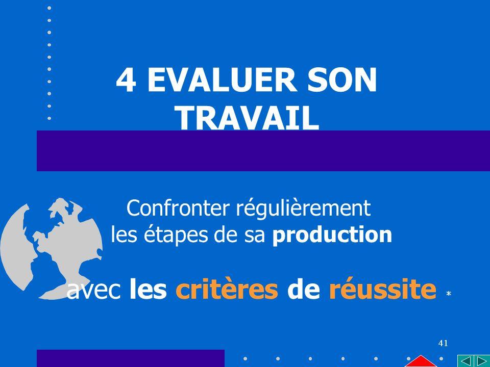 41 4 EVALUER SON TRAVAIL Confronter régulièrement les étapes de sa production avec les critères de réussite *