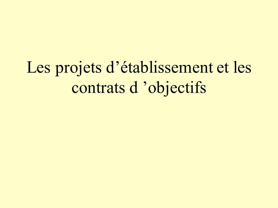Les projets détablissement et les contrats d objectifs