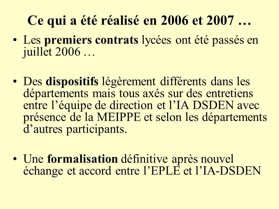 Ce qui a été réalisé en 2006 et 2007 … Les premiers contrats lycées ont été passés en juillet 2006 … Des dispositifs légèrement différents dans les dé