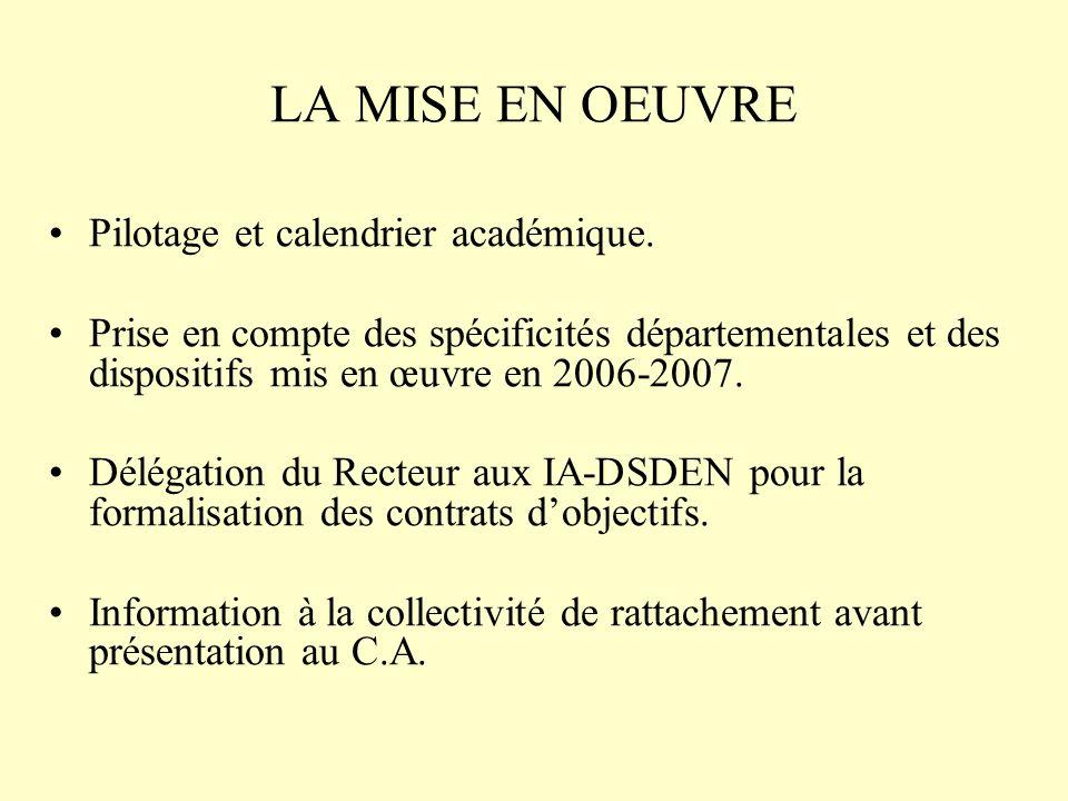 LA MISE EN OEUVRE Pilotage et calendrier académique. Prise en compte des spécificités départementales et des dispositifs mis en œuvre en 2006-2007. Dé