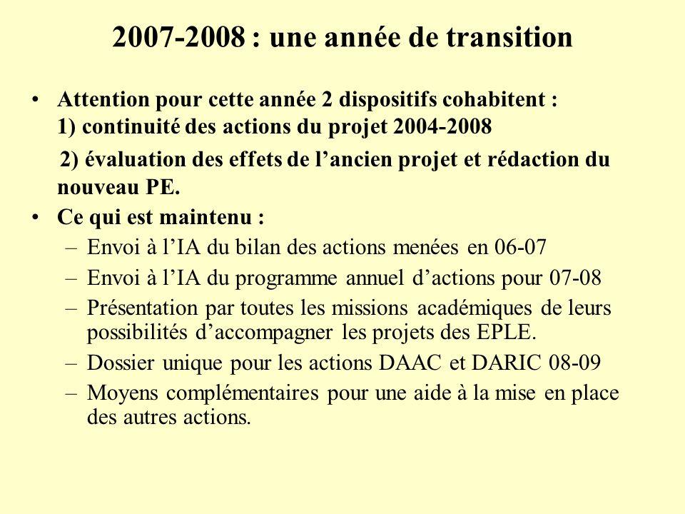 2007-2008 : une année de transition Attention pour cette année 2 dispositifs cohabitent : 1) continuité des actions du projet 2004-2008 2) évaluation