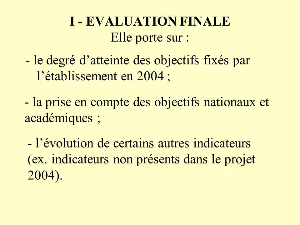 I - EVALUATION FINALE Elle porte sur : - le degré datteinte des objectifs fixés par létablissement en 2004 ; - la prise en compte des objectifs nation
