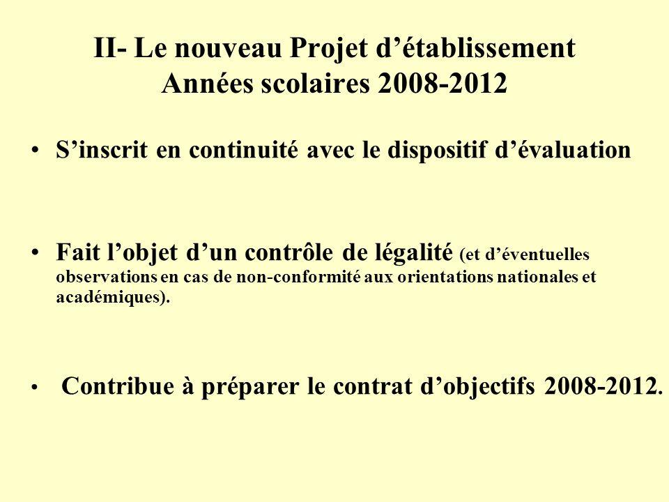 II- Le nouveau Projet détablissement Années scolaires 2008-2012 Sinscrit en continuité avec le dispositif dévaluation Fait lobjet dun contrôle de léga