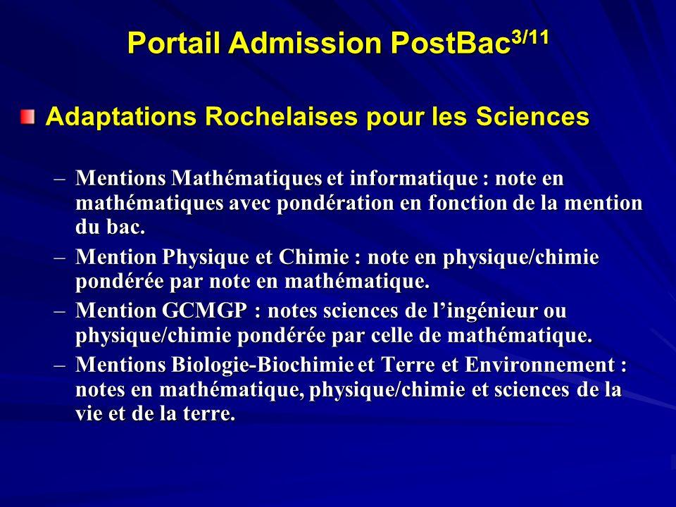 Portail Admission PostBac 3/11 Adaptations Rochelaises pour les Sciences –Mentions Mathématiques et informatique : note en mathématiques avec pondérat