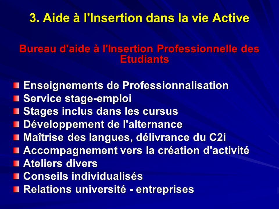 3. Aide à l'Insertion dans la vie Active Bureau d'aide à l'Insertion Professionnelle des Etudiants Enseignements de Professionnalisation Service stage