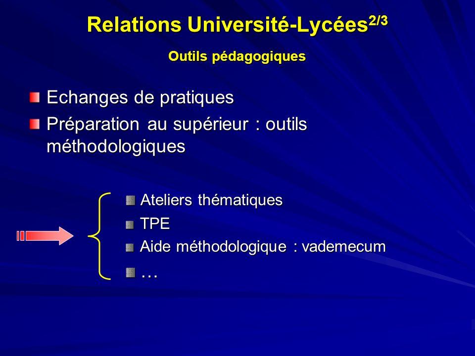 Relations Université-Lycées 2/3 Outils pédagogiques Echanges de pratiques Préparation au supérieur : outils méthodologiques Ateliers thématiques Ateli