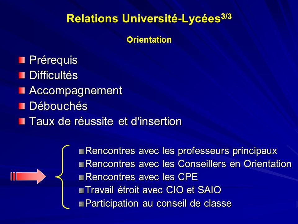 Relations Université-Lycées 3/3 Orientation PrérequisDifficultésAccompagnementDébouchés Taux de réussite et d'insertion Rencontres avec les professeur