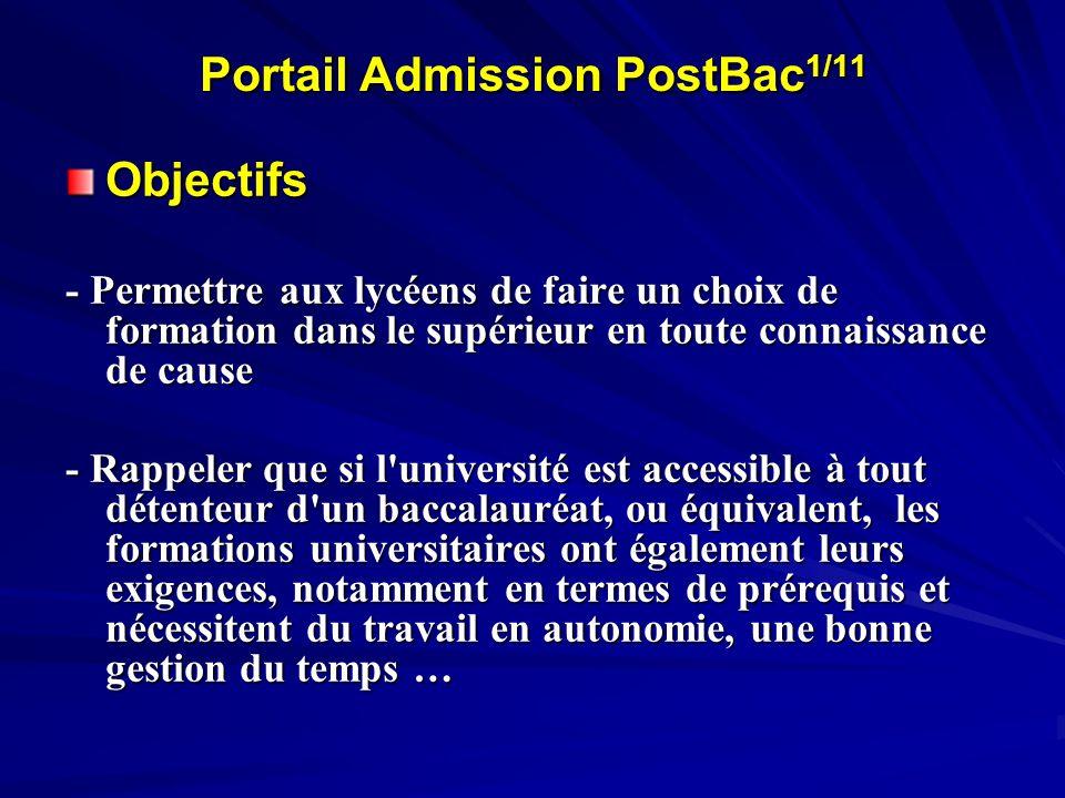 Portail Admission PostBac 1/11 Objectifs - Permettre aux lycéens de faire un choix de formation dans le supérieur en toute connaissance de cause - Rap