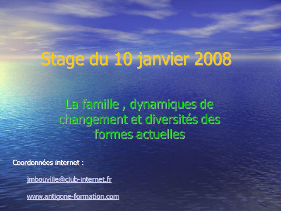 Stage du 10 janvier 2008 La famille, dynamiques de changement et diversités des formes actuelles Coordonnées internet : jmbouville@club-internet.fr ww