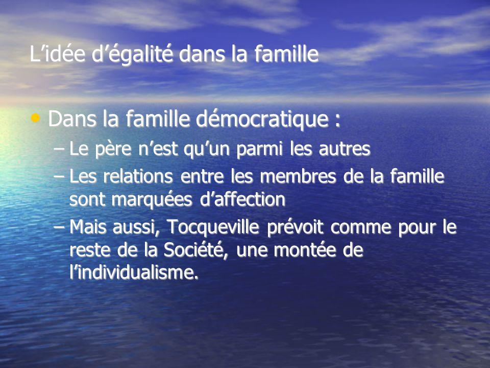 Lidée dégalité dans la famille Dans la famille démocratique : Dans la famille démocratique : –Le père nest quun parmi les autres –Les relations entre les membres de la famille sont marquées daffection –Mais aussi, Tocqueville prévoit comme pour le reste de la Société, une montée de lindividualisme.