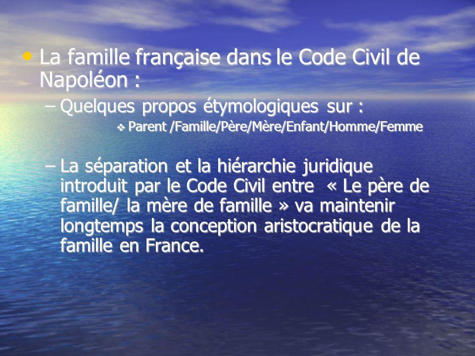 La famille française dans le Code Civil de Napoléon : La famille française dans le Code Civil de Napoléon : –Quelques propos étymologiques sur : Paren