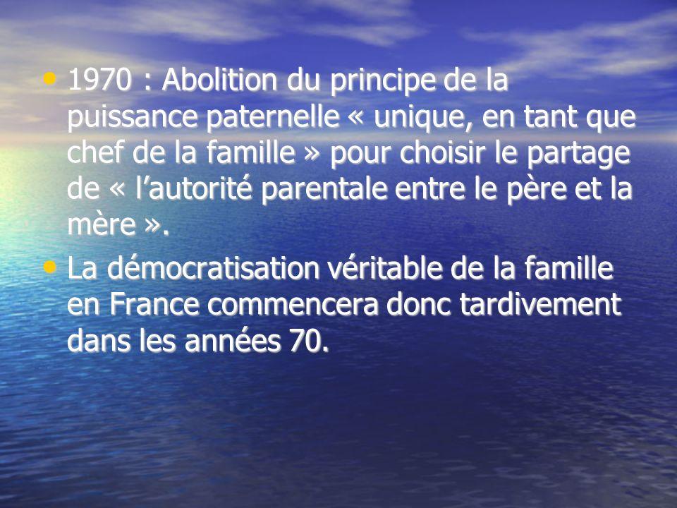 1970 : Abolition du principe de la puissance paternelle « unique, en tant que chef de la famille » pour choisir le partage de « lautorité parentale en