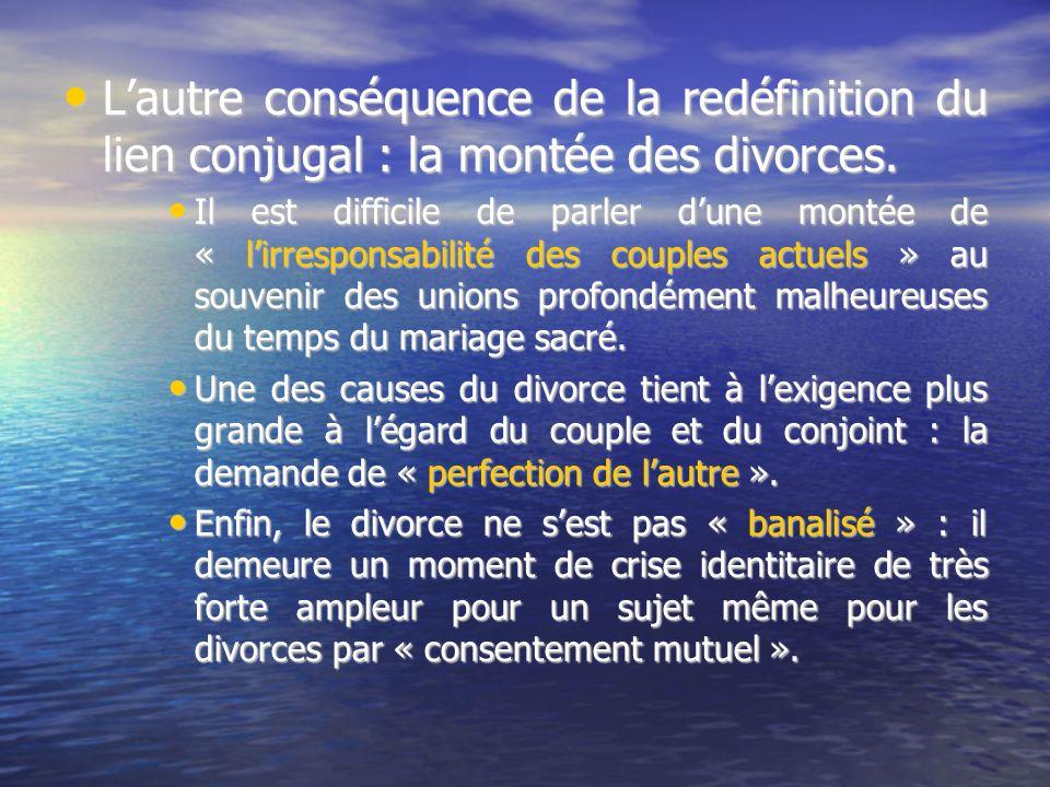 Lautre conséquence de la redéfinition du lien conjugal : la montée des divorces.