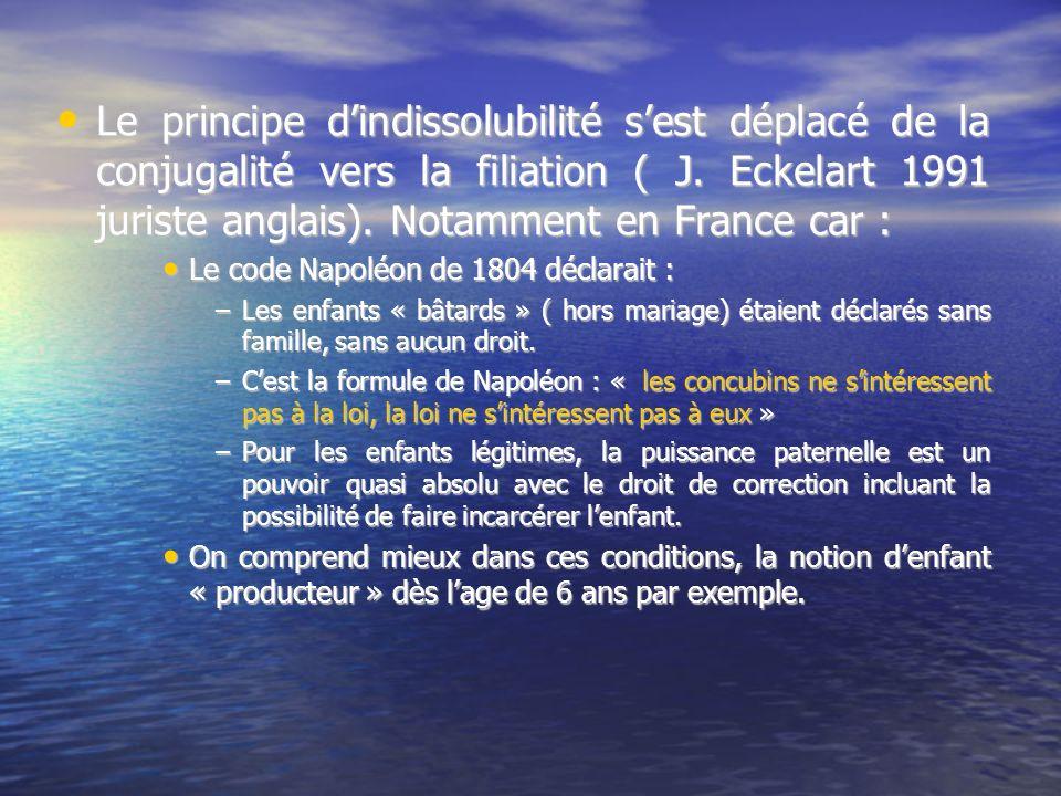 Le principe dindissolubilité sest déplacé de la conjugalité vers la filiation ( J. Eckelart 1991 juriste anglais). Notamment en France car : Le princi