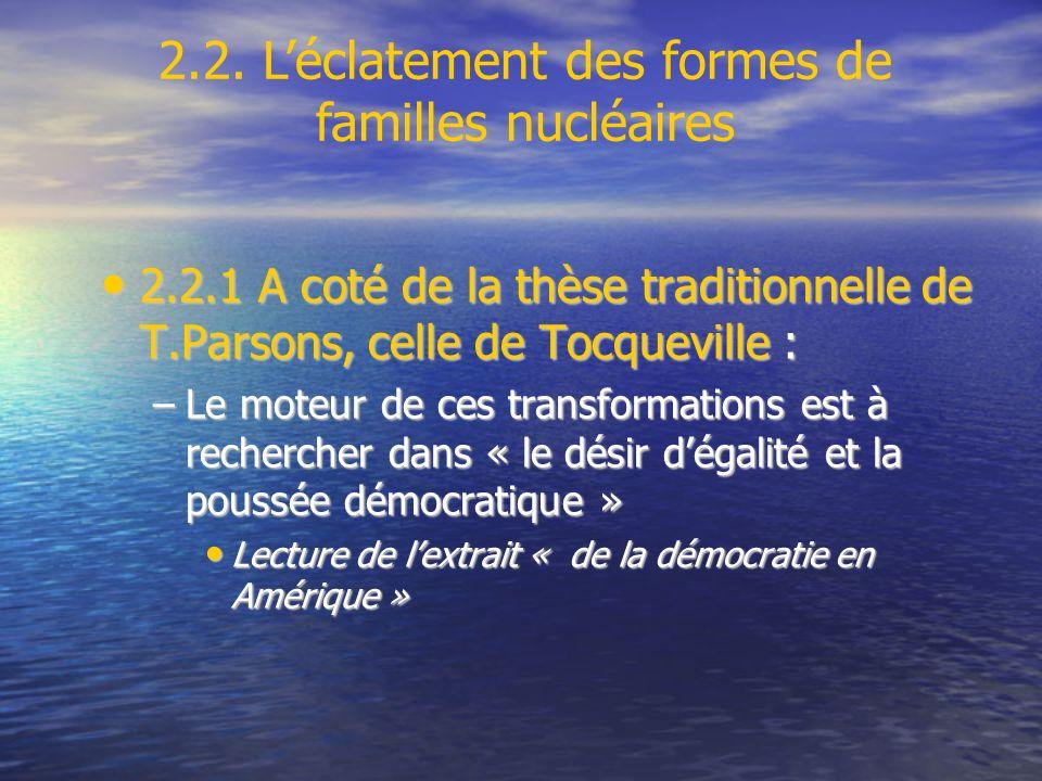 2.2.1 A coté de la thèse traditionnelle de T.Parsons, celle de Tocqueville : 2.2.1 A coté de la thèse traditionnelle de T.Parsons, celle de Tocquevill