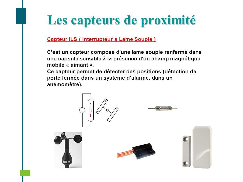 Capteur ILS ( Interrupteur à Lame Souple ) Cest un capteur composé d'une lame souple renfermé dans une capsule sensible à la présence d'un champ magné