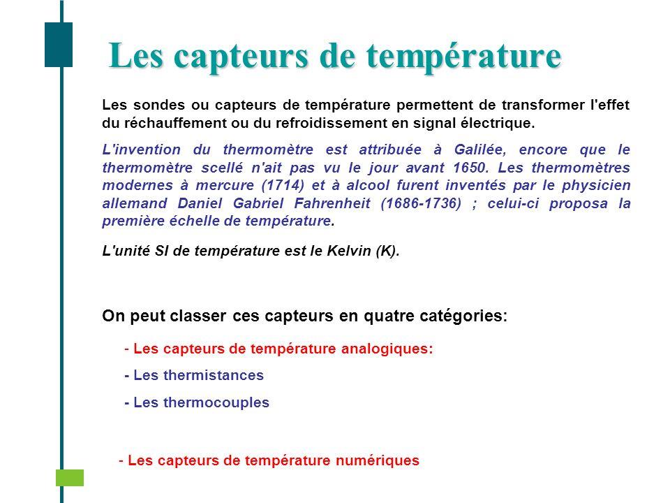Les sondes ou capteurs de température permettent de transformer l'effet du réchauffement ou du refroidissement en signal électrique. L'invention du th