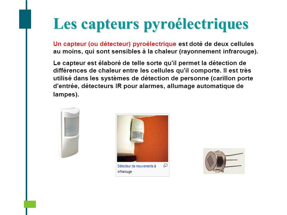 Un capteur (ou détecteur) pyroélectrique est doté de deux cellules au moins, qui sont sensibles à la chaleur (rayonnement infrarouge). Le capteur est