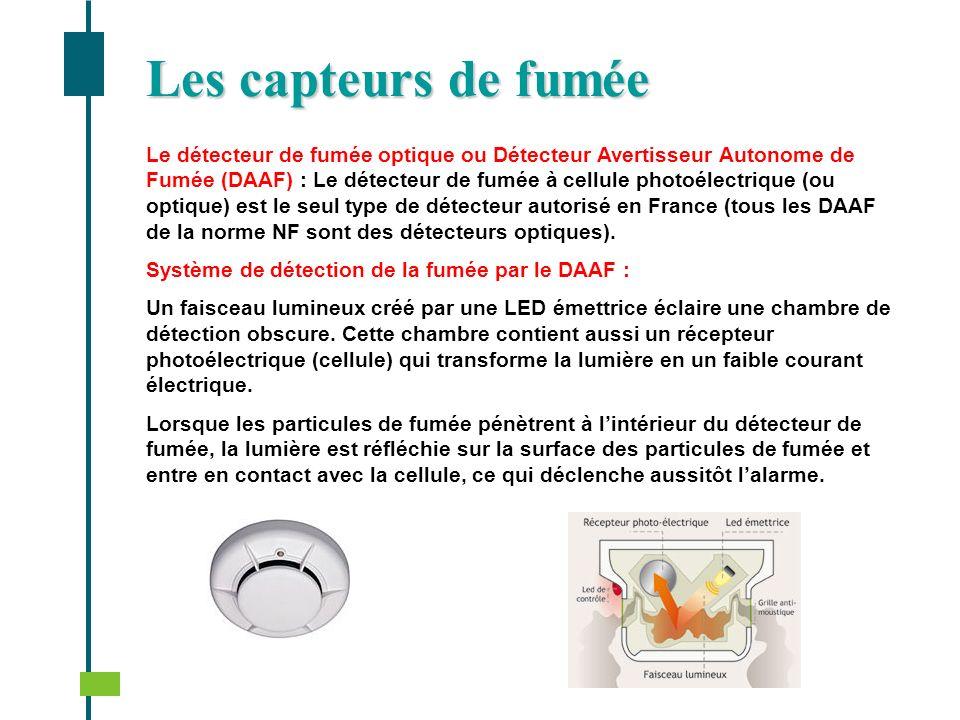 Le détecteur de fumée optique ou Détecteur Avertisseur Autonome de Fumée (DAAF) : Le détecteur de fumée à cellule photoélectrique (ou optique) est le