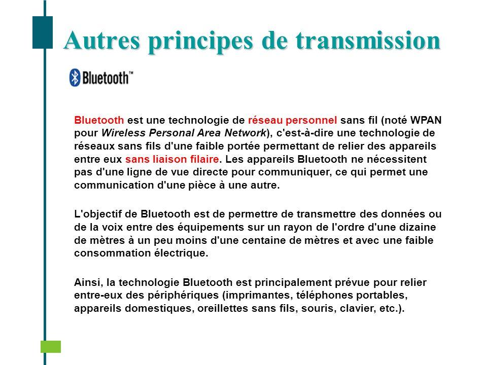 Autres principes de transmission Bluetooth est une technologie de réseau personnel sans fil (noté WPAN pour Wireless Personal Area Network), c'est-à-d