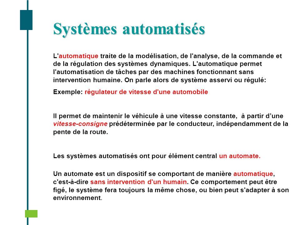 Systèmes automatisés L'automatique traite de la modélisation, de l'analyse, de la commande et de la régulation des systèmes dynamiques. L'automatique