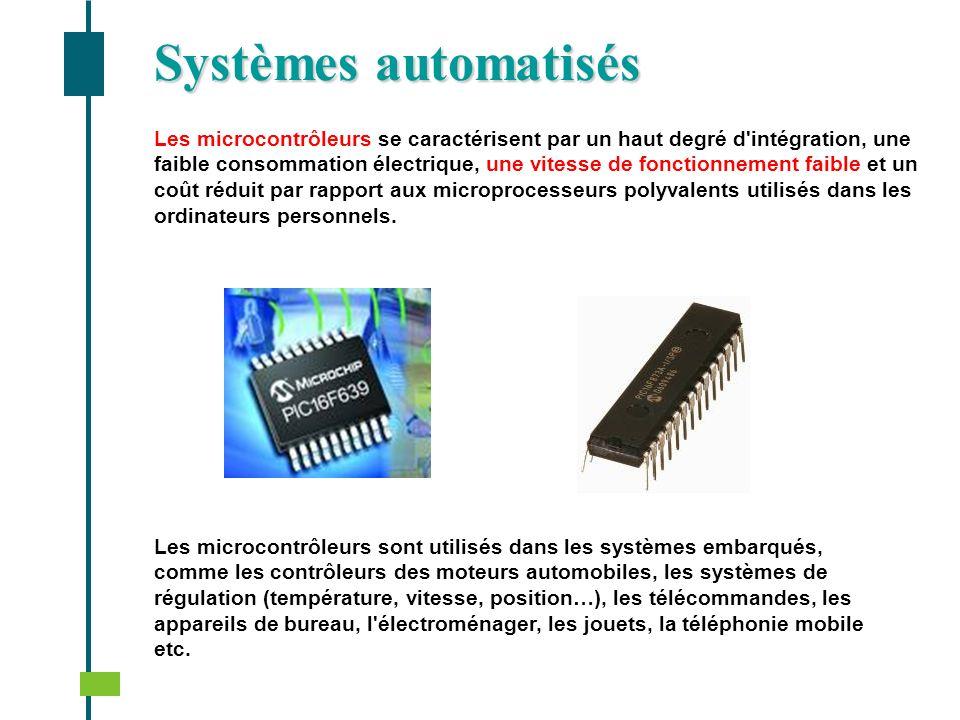 Systèmes automatisés Les microcontrôleurs se caractérisent par un haut degré d'intégration, une faible consommation électrique, une vitesse de fonctio