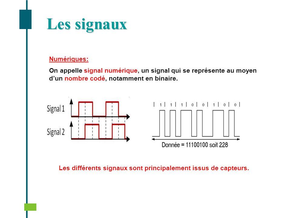 Numériques: On appelle signal numérique, un signal qui se représente au moyen dun nombre codé, notamment en binaire. Les différents signaux sont princ