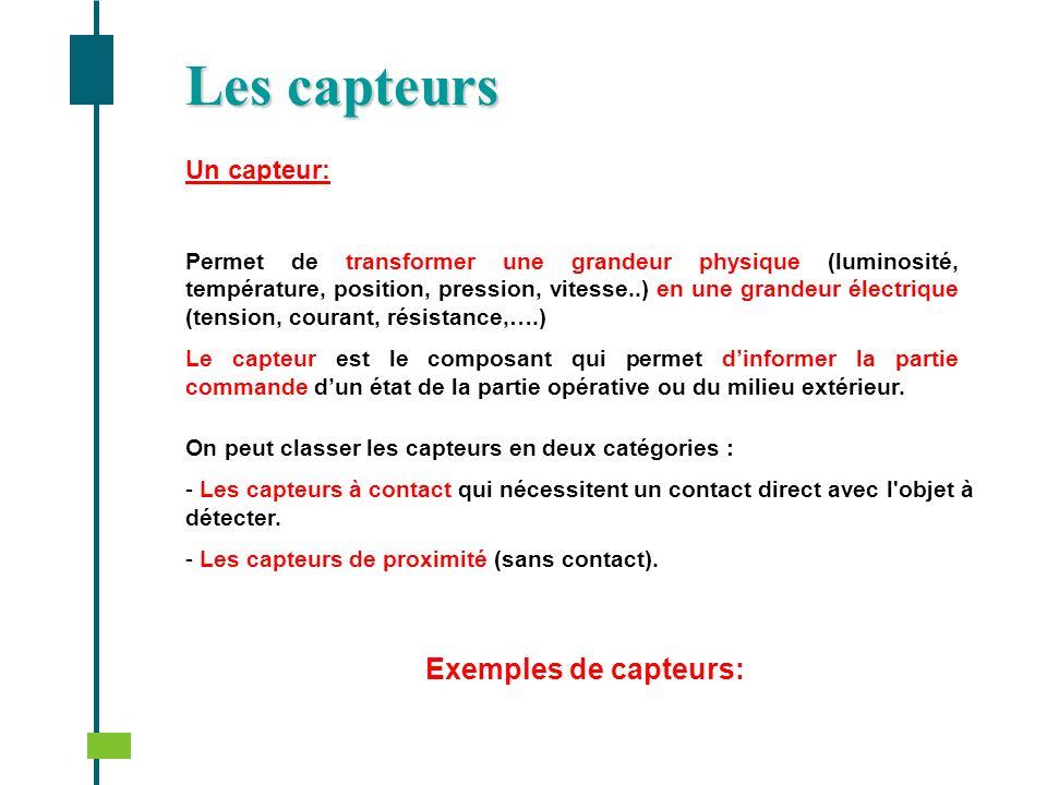 Un capteur: Permet de transformer une grandeur physique (luminosité, température, position, pression, vitesse..) en une grandeur électrique (tension,