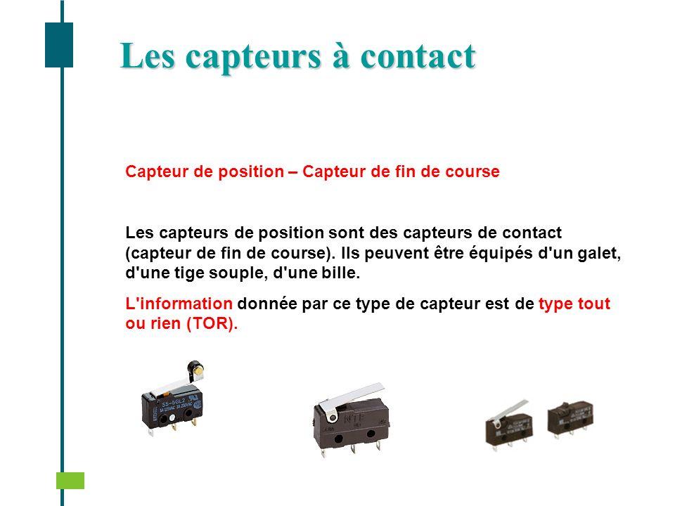 Capteur de position – Capteur de fin de course Les capteurs de position sont des capteurs de contact (capteur de fin de course). Ils peuvent être équi