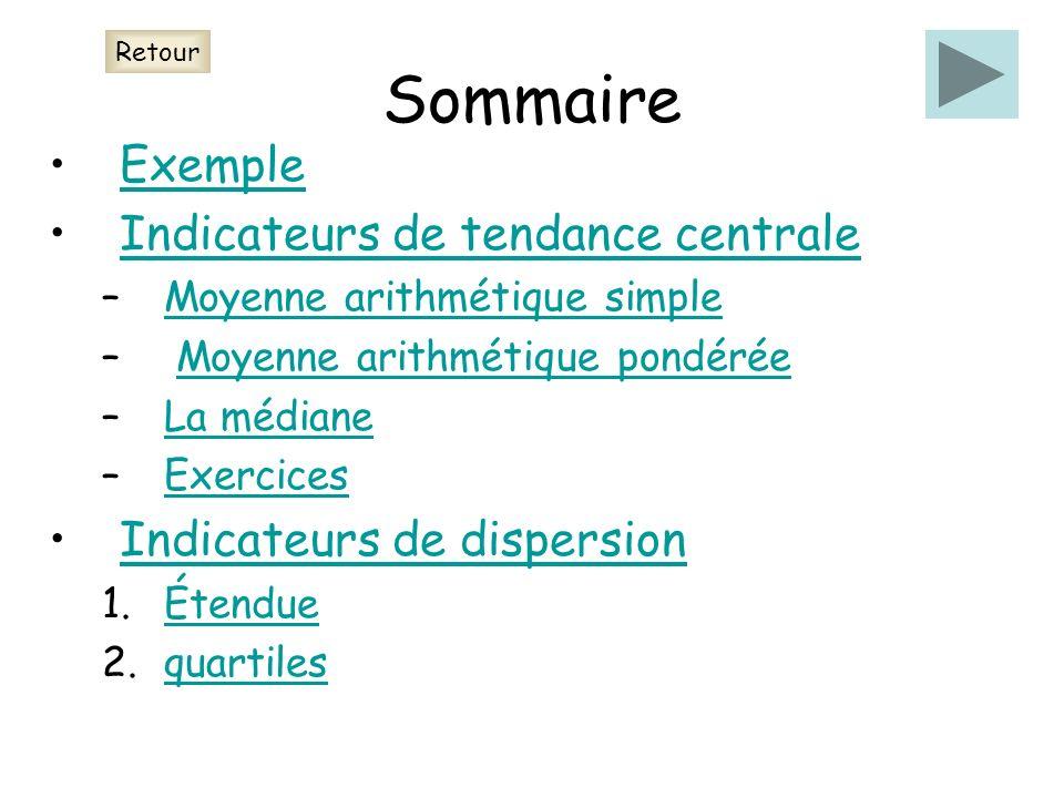 Sommaire Exemple Indicateurs de tendance centrale –Moyenne arithmétique simpleMoyenne arithmétique simple – Moyenne arithmétique pondéréeMoyenne arith