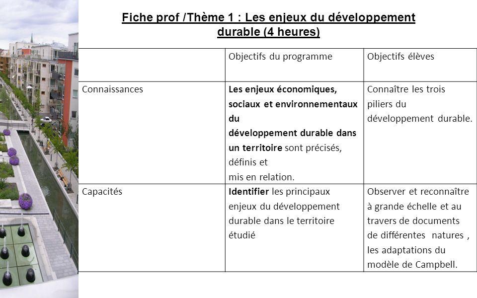 Objectifs du programmeObjectifs élèves Connaissances Les enjeux économiques, sociaux et environnementaux du développement durable dans un territoire s