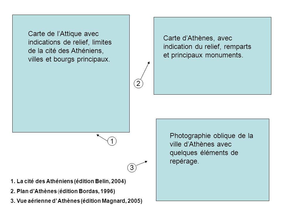1. La cité des Athéniens (édition Belin, 2004) 2. Plan dAthènes (édition Bordas, 1996) 3. Vue aérienne d Athènes (édition Magnard, 2005) 1 2 3 Carte d