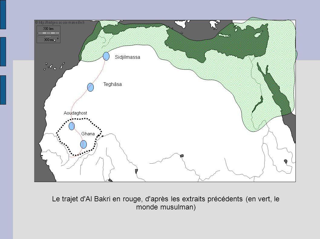 Sidjilmassa Teghâsa Aoudaghost Ghana Le trajet d'Al Bakri en rouge, d'après les extraits précédents (en vert, le monde musulman)