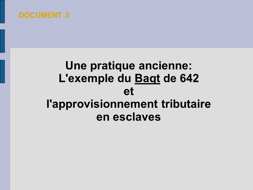 Une pratique ancienne: L'exemple du Baqt de 642 et l'approvisionnement tributaire en esclaves DOCUMENT 3
